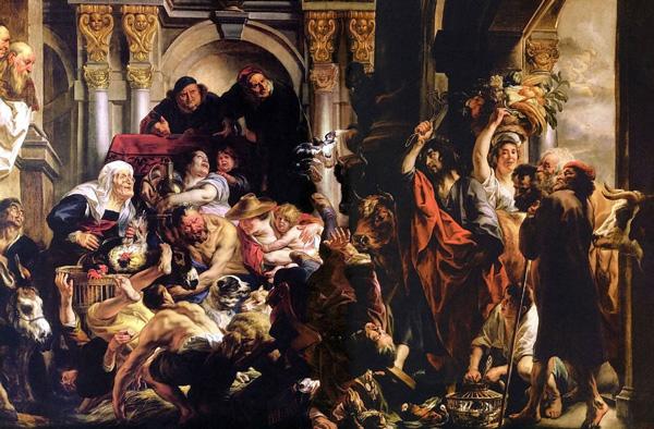 Christ Driving Merchants From Temple Jacob Jordaens 1650